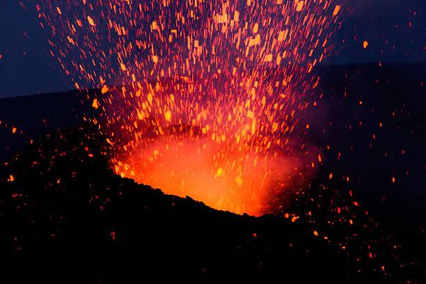 Mount Etna produces fountain of lava stock photo