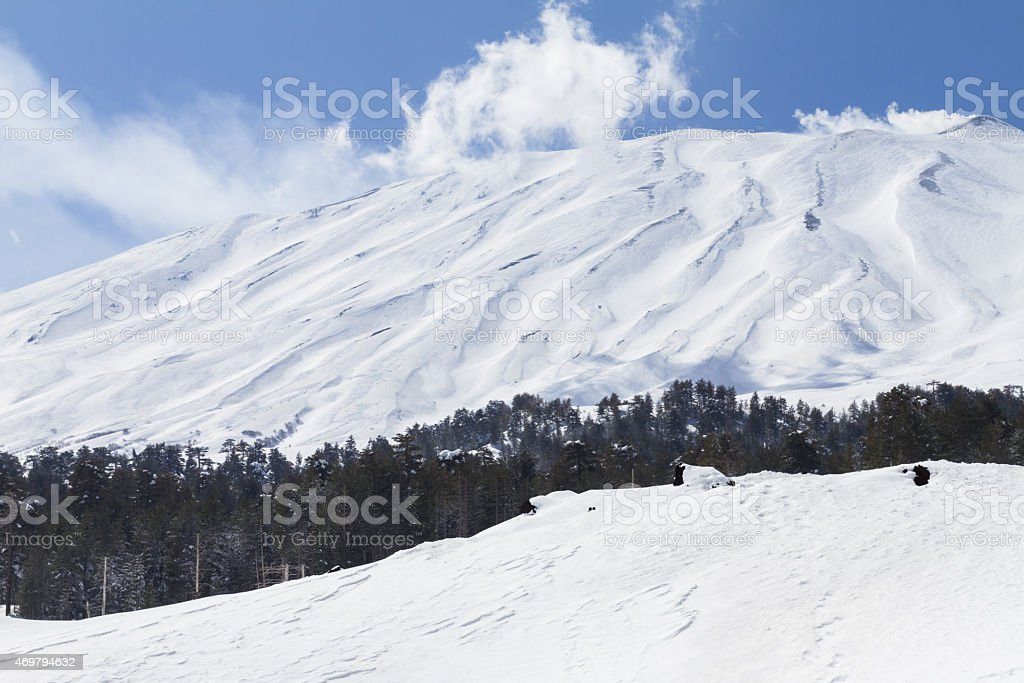 Mount Etna winter stock photo