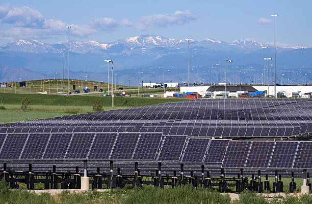 Mount Evans and solar panels at Denver International Airport stock photo