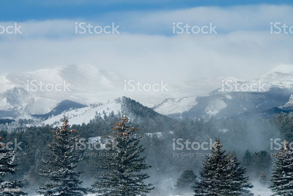 Mount Evans Colorado Blowing Snow royalty-free stock photo