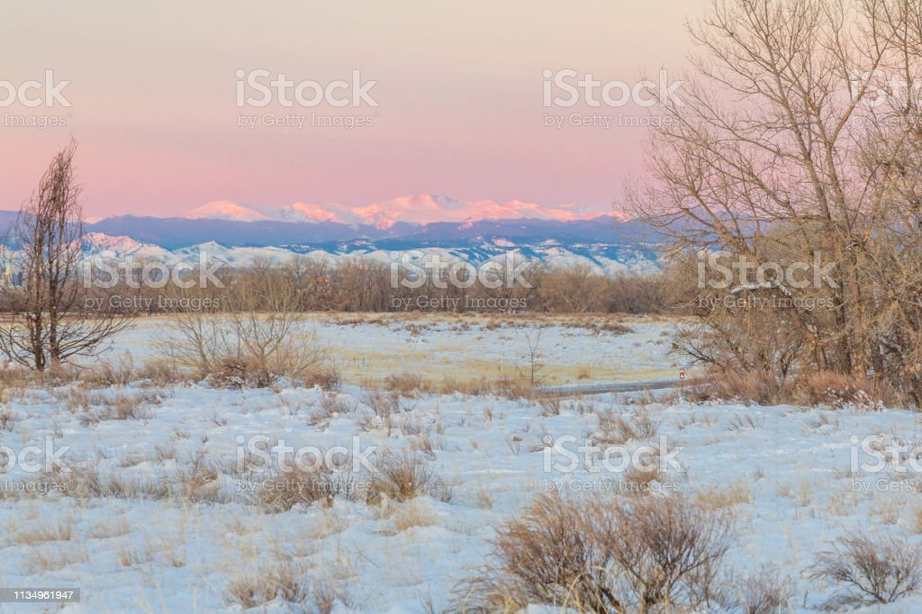 Mount Evans from the Rocky Mountain Arsenal stock photo