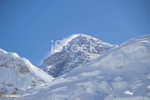 Mount Everest 8,848 m the highest mountain above sea level known in Nepali as Sagarmatha and in Tibetan as Chomolungma,Nepal