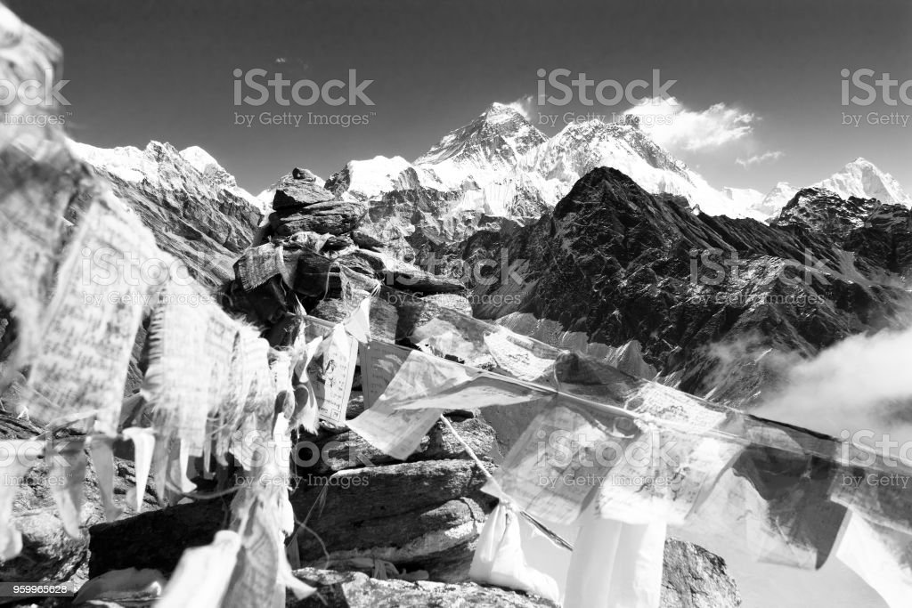 Mount Everest and Lhotse with buddhist prayer flags stock photo