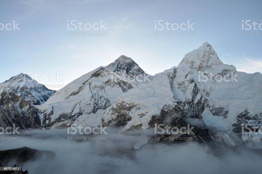 Mount Everest and Nuptse stock photo