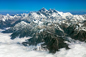 Mount Everest 8,848 m (29,029 ft) and the Himalayas, aerial photo taken from plane cockpit, Nepal, Asia.