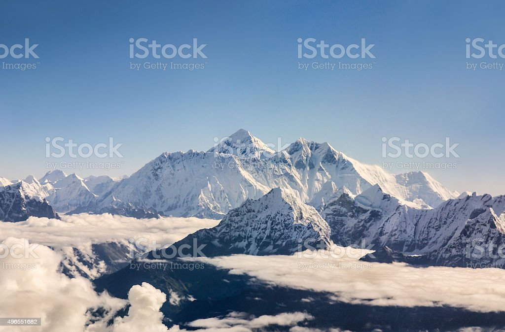 Mount Everest from above stock photo