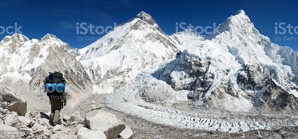 Mount Everest from Pumo Ri base camp with tourist stock photo