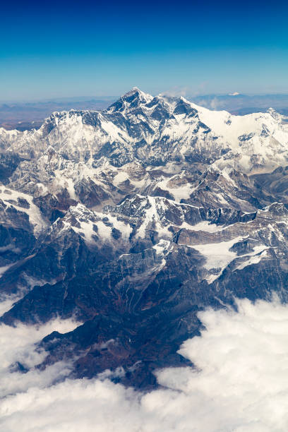 Mount Everest, Himalaya, Aerial View stock photo