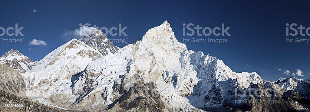 Mount Everest, Lhotse and Nuptse from Kala Pattar stock photo