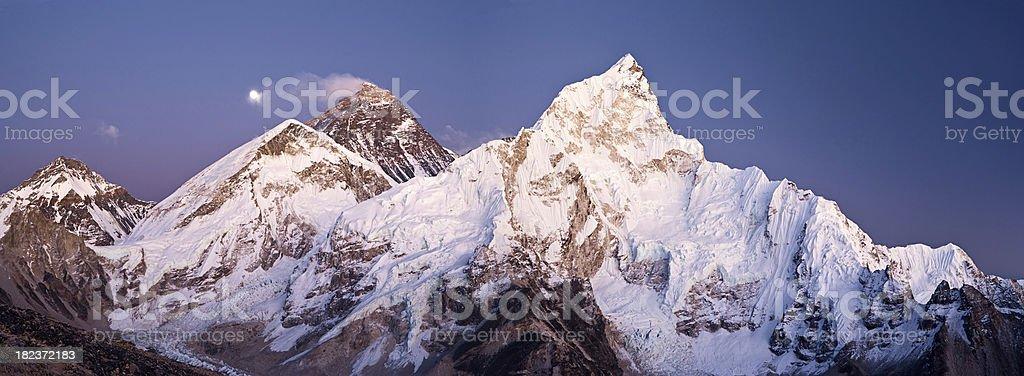 Mount Everest, Lhotse and Nuptse from Kala Patthar - panorama royalty-free stock photo