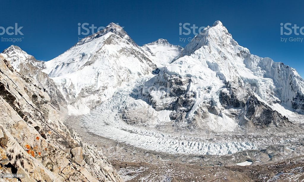 Mount Everest Lhotse and Nuptse from Pumo Ri base camp stock photo