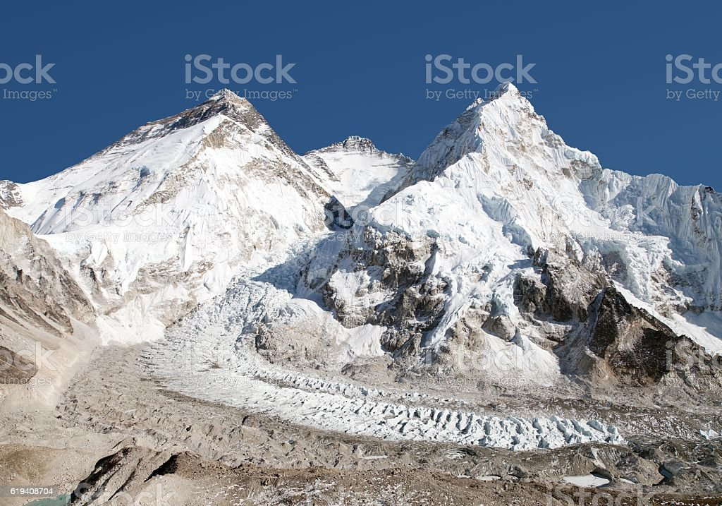 mount Everest, Lhotse and Nuptse from Pumo Ri base camp stock photo
