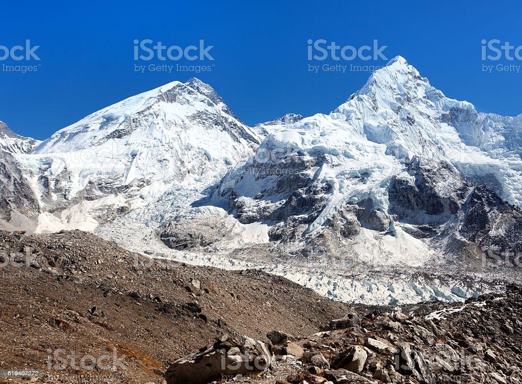 mount Everest, Lhotse and Nuptse stock photo