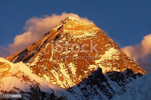 Evening colored view of Mount Everest from Kala Patthar, Khumbu valley, Solukhumbu, Sagarmatha national park, Nepal Himalayas mountains