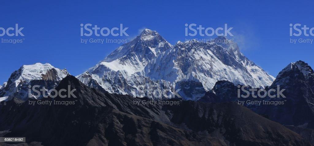 Mount Everest, Nuptse and Lhotse stock photo