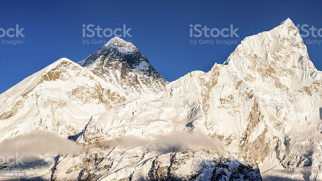 Mount Everest, Nuptse panoramic view 62MPix XXXXL royalty-free stock photo