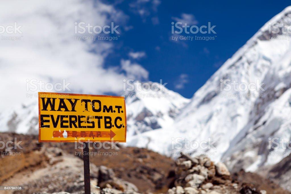Mount Everest Signpost, Travel to Base Camp stock photo