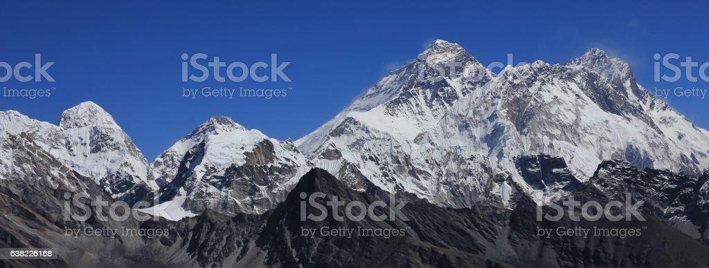 Mount Everest, view from Renjo La mountain pass stock photo