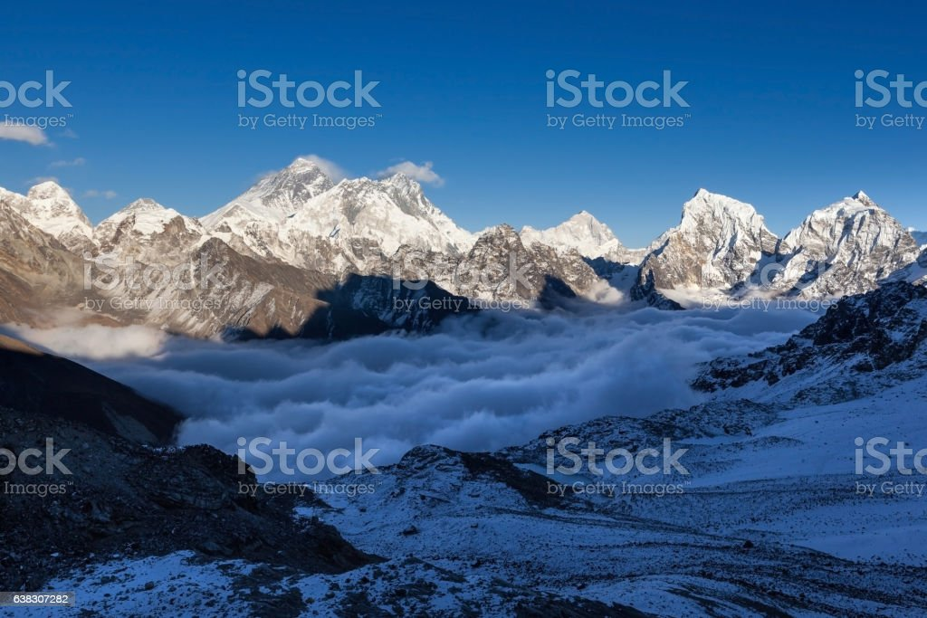 Mount Everest view from Renjo La pass. stock photo
