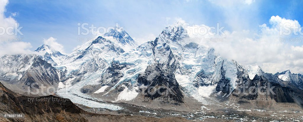 Mount Everest with beautiful sky and Khumbu Glacier stock photo