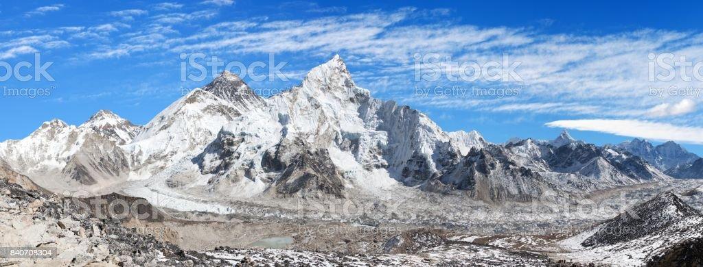 Mount Everest with beautiful sky and Khumbu Glacier stock photo