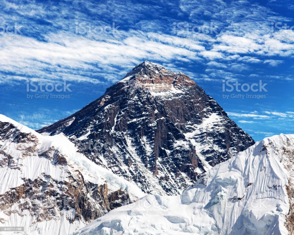 Mount Everest with clouds from Kala Patthar stock photo