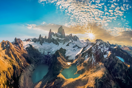 Argentina, Chalten, Famous Place, Lake, Mt Fitzroy, aerial view
