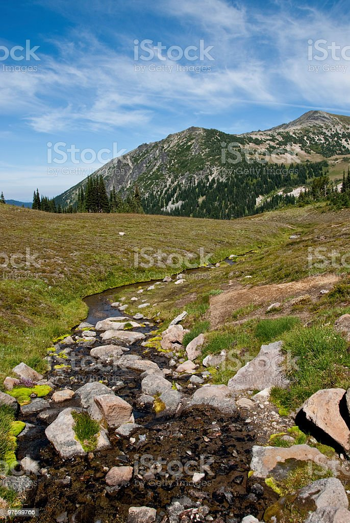 Mount Fremont and Creek Near Skyscraper Pass royalty-free stock photo