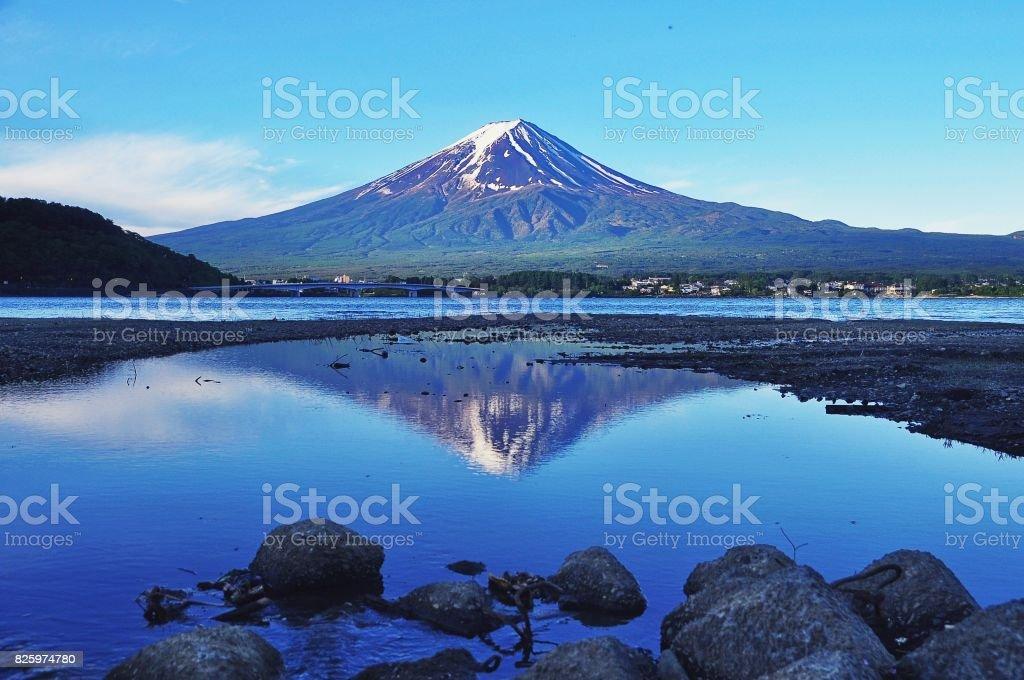 Mount Fuji and Kawaguchiko lake stock photo