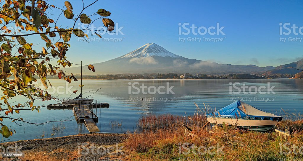 Mount Fuji and Lake Kawaguchi stock photo