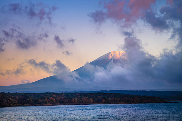 Mount Fuji and lake Motosu stock photo