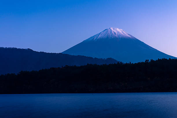 Mount Fuji and lake Saiko stock photo