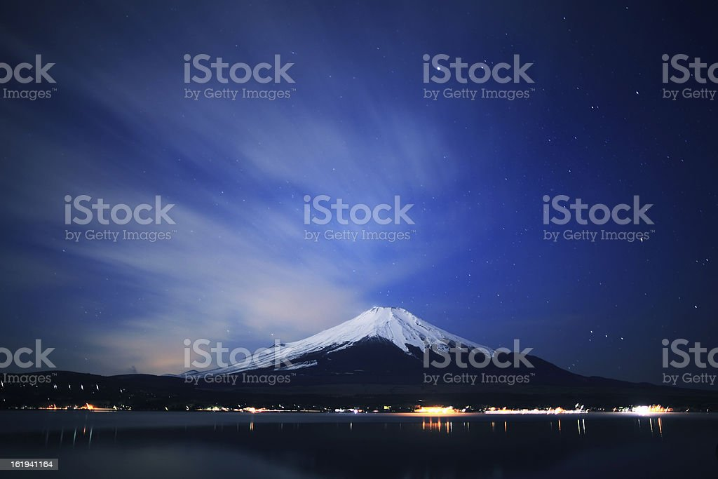 Mount Fuji and Lake Yamanaka at night. stock photo