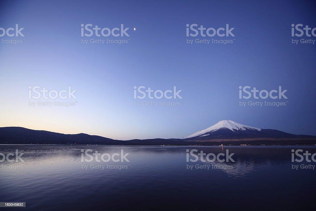 Mount Fuji and Lake Yamanaka before the daybreak. stock photo