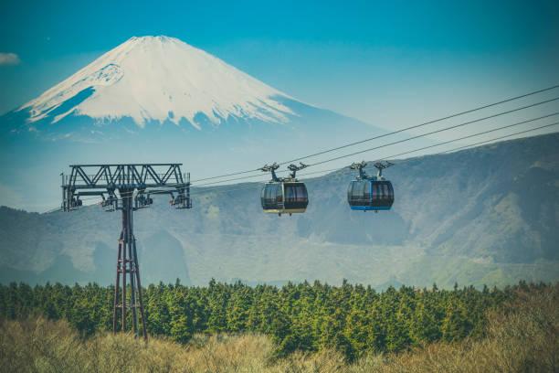 Mount Fuji und Seilbahn in Hakone Nationalpark, japan – Foto