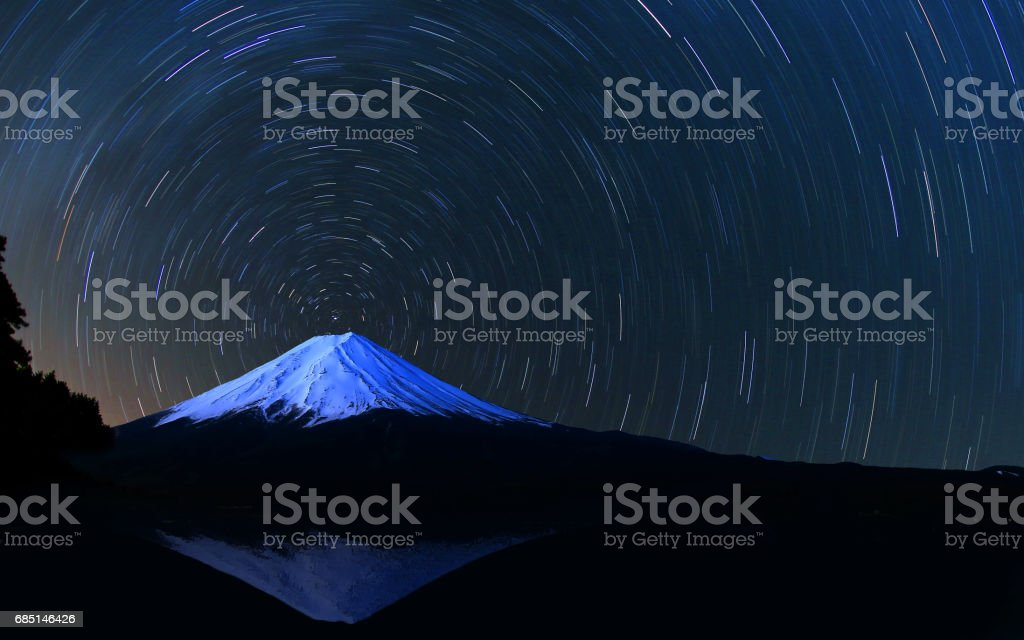 Mount Fuji and star trails stock photo