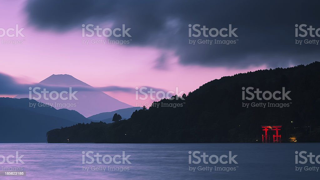 Mount Fuji and Torii Gate stock photo