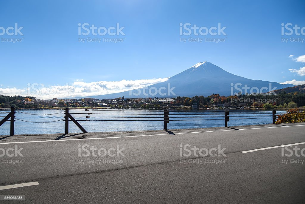 Mount Fuji at Lake Kawaguchi, Japan stock photo