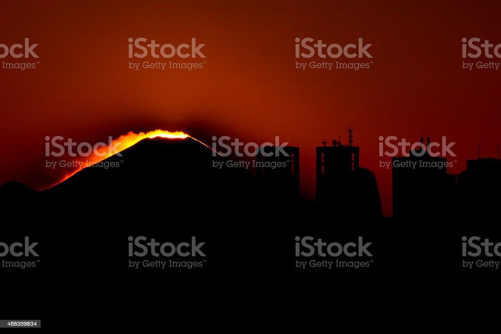 Mount Fuji during sunset royalty-free stock photo