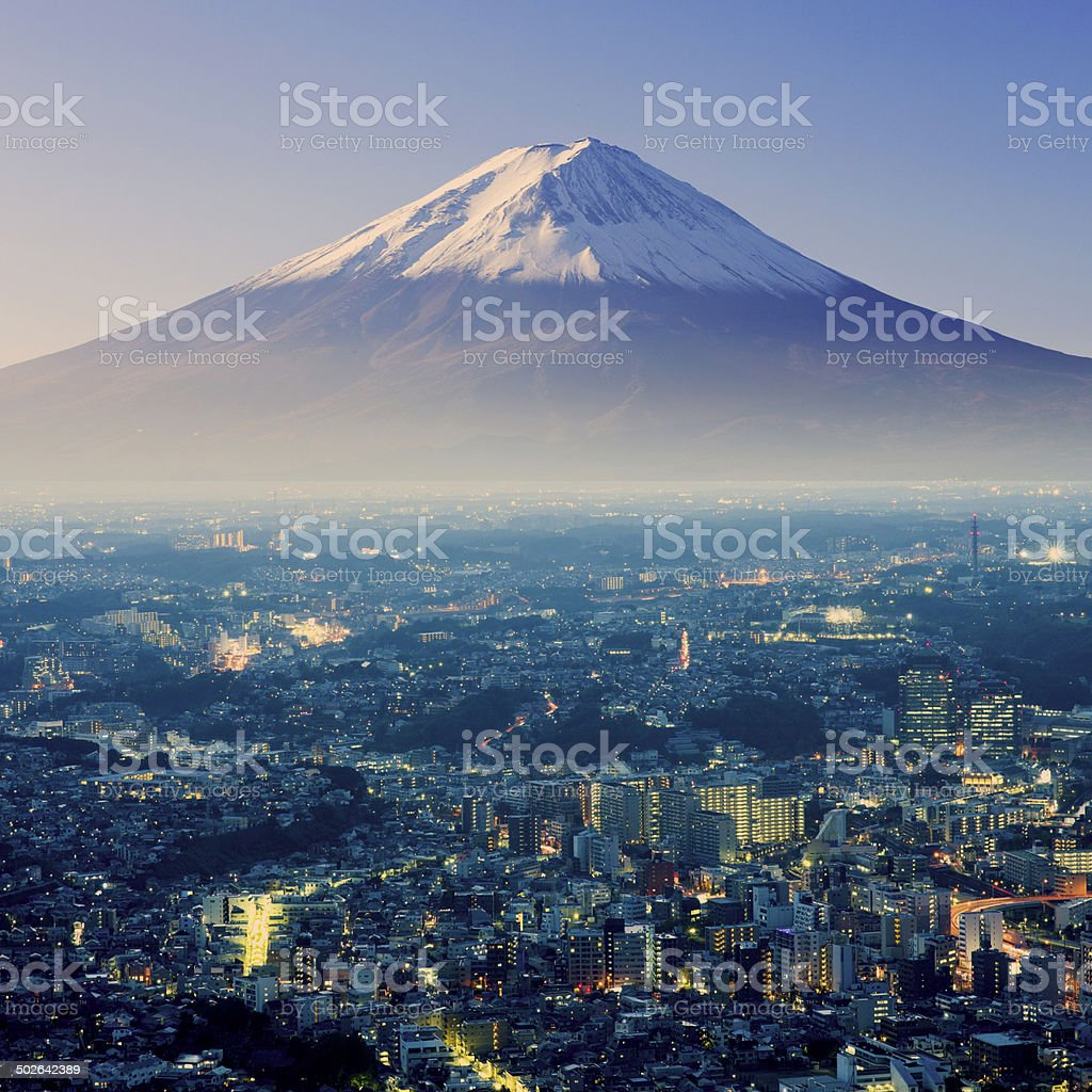 Mount Fuji. Fujiyama. Aerial view with cityspace surreal shot. J stock photo