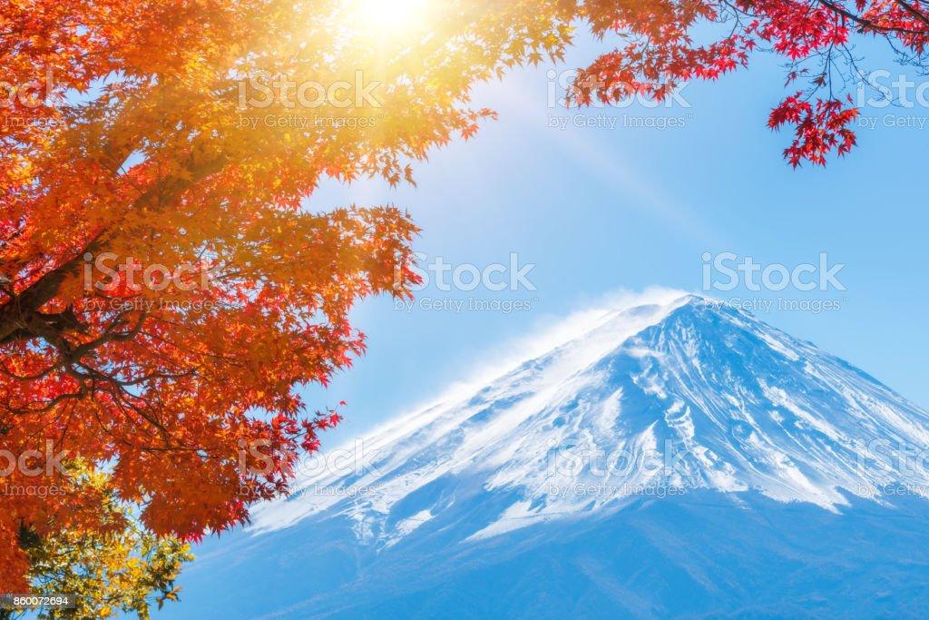 Mount Fuji in Autumn Color, Japan stock photo