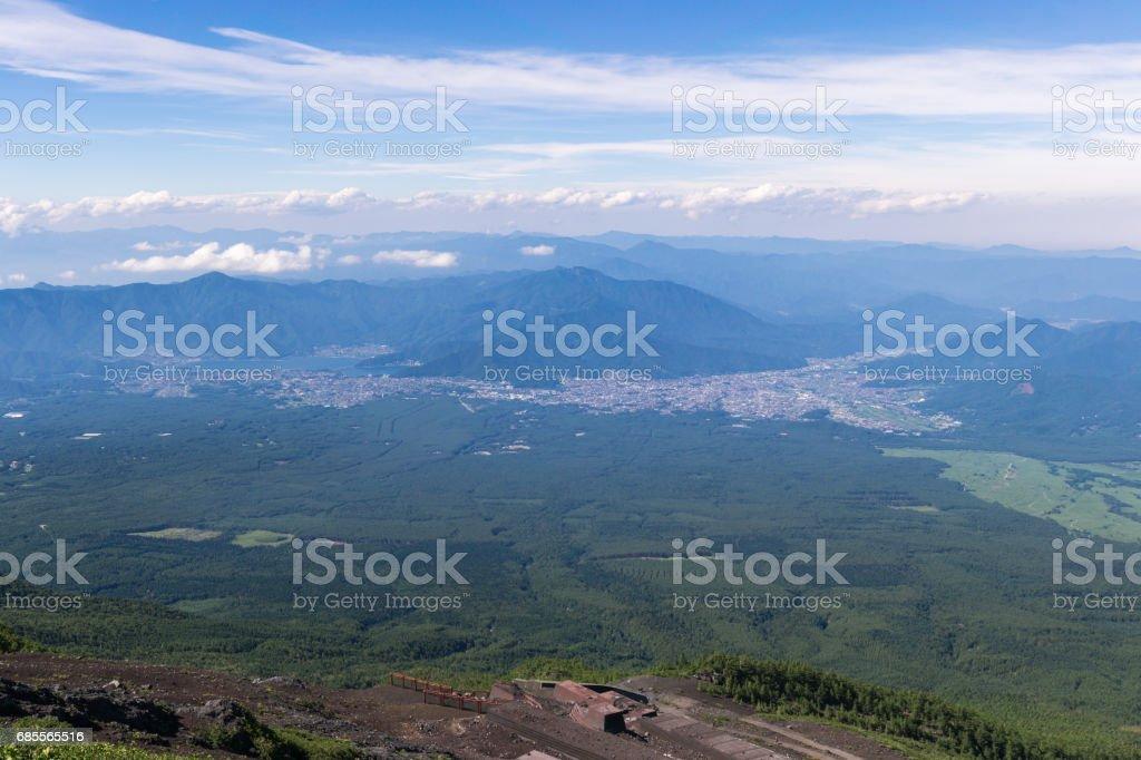 후지산, 일본 요시다 흔적에서 등반을 탑재 합니다. royalty-free 스톡 사진