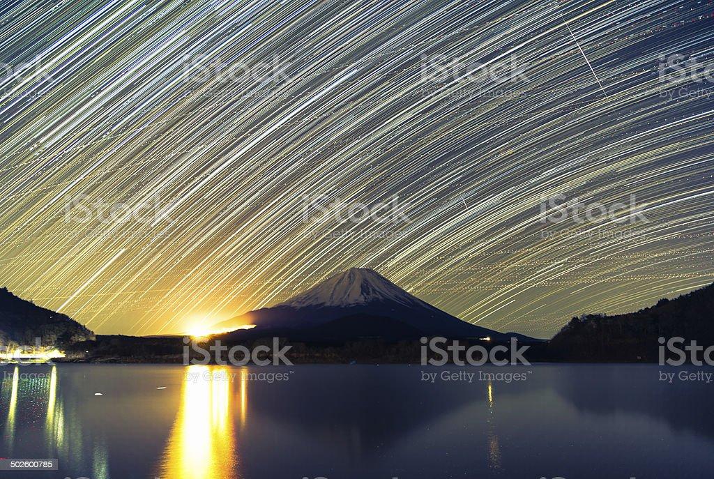 Mount Fuji, Lake Shojiko and star trails of winter stars stock photo
