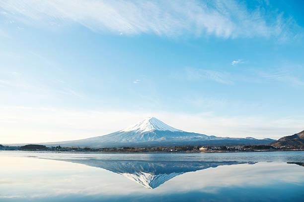 Mount Fuji located on Honshu Island stock photo