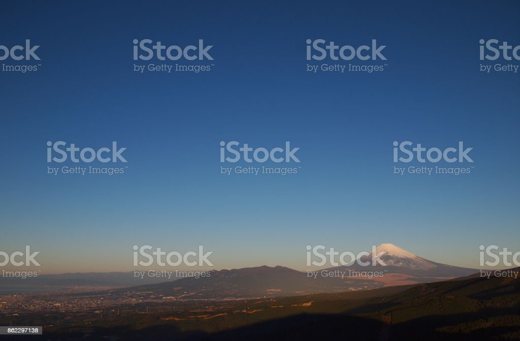 Mount Fuji of the morning of New Year's Day stock photo