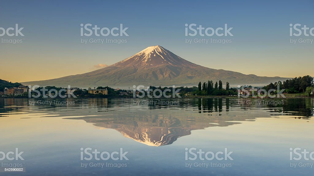 Mount Fuji reflected in Lake , Japan. stock photo