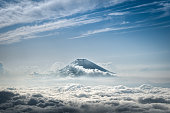 Mount Fuji rising above the clouds