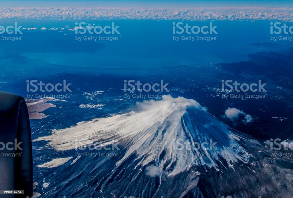 Mount Fuji to see from the sky stock photo