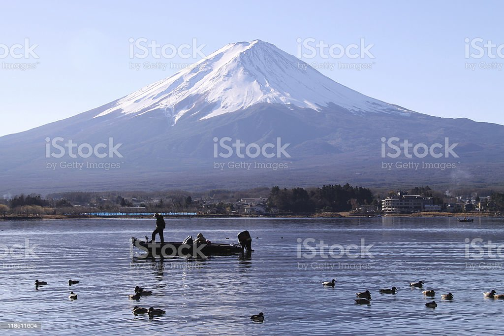 Mount Fuji view from The Kawaguchi lake royalty-free stock photo