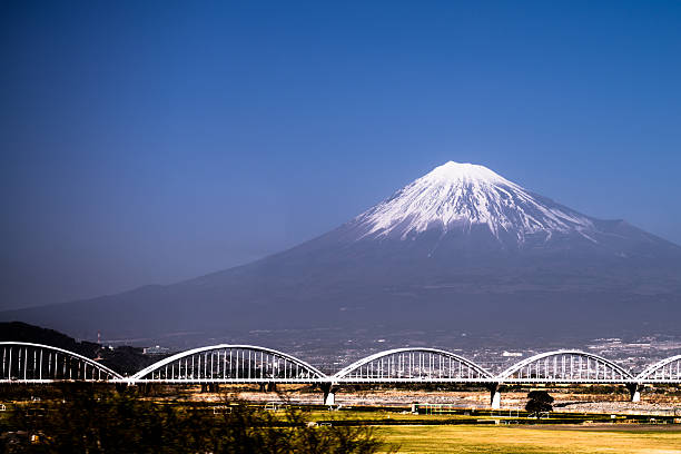 Mount Fuji with snow-covered stock photo